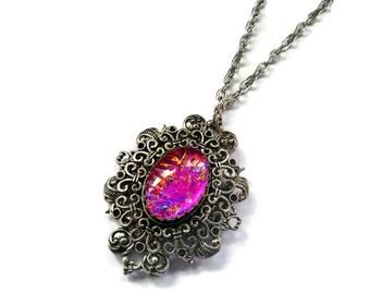 Victorian Necklace, Handmade Glass Opalite Magenta, Filigree Fantasy Necklace, Renaissance Necklace, Heart Filigree Necklace