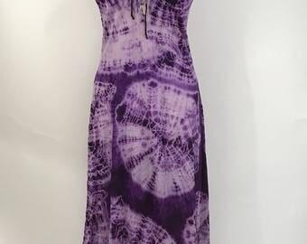 90s Nylon Purple Tie Dye Maxi Slip Dress