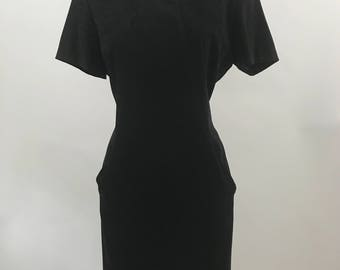 Vintage Black Faux Suede Dress/Minimalist Black Dress/90's Short Sleeve Suede Dress
