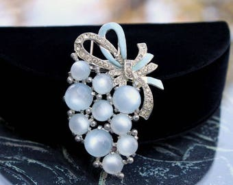 Coro Fur Clip - Blue Moonglow Lucite Cabs and Rhinestones