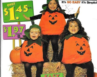 Simplicity 0652 Child's PUMPKIN Costume Sewing Pattern UNCUT Size S, M,L Easy And Fast