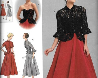 Simplicity 1250 Vintage 1950's Style Strapless Dress Peplum, Jacket Sewing Pattern UNCUT Plus Size 14, 16, 18, 20, 22