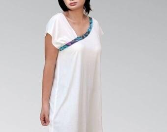 Asymmetrical draped White Jersey tunic dress