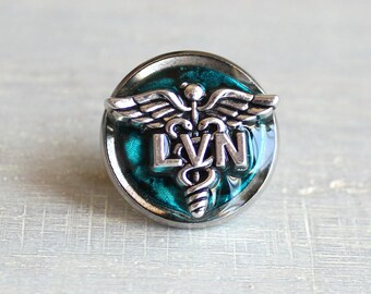 blue LVN pin, nursing pin, licensed vocational nurse, tie tack, graduation gift, nurse gift, nurse graduation, lvn graduation, unique gift