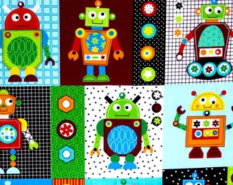 END OF BOLT 31 inches long Robots Fabric, boys fabric, kids fabric, 100% cotton for Quilting, arts, crafts and all sewing projects.