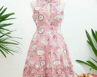 Sweet sundress floral dress creamy pink dress spring summer sundress ruffle neck dress Pink bridesmaid dresses floral bridesmaid dress