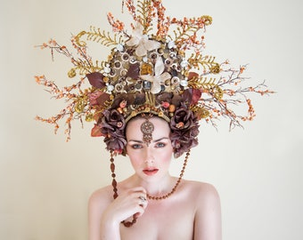 Bronze, Gold and Brown 'Earth Goddess' Couture Beaded Headdress