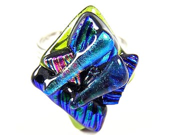"""Cocktail RING Dichroic Glass Adjustable - Blue Teal Green Aqua Turquoise Pink Recycled Striped Patterned Chunky Layered Large 1"""" Fused Glass"""