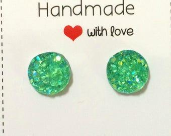 Green Clear Druzy Stud Earrings
