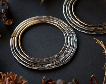 Mixed Metal 10g Hammered Stacking Metal Hoop Set in Sterling Silver Brass 10 Gauge Hoops for Tunnels Gauges Plugs Stretched Ears Ear Weights
