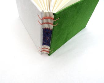 Green, cream, journal, Coptic, woven spine, notebook, faux suede, A6