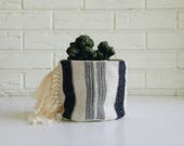 Vintage Hmong and Mudcloth Plant Holder with Fringe - Boho Textile Plant Cover - Indigo Tribal Planter