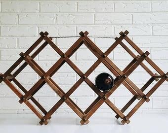 Vintage Rustic Wooden Accordion Wine Rack - Expandable Wood Wine Rack - Wine Accessory - Modern Farmhouse Decor