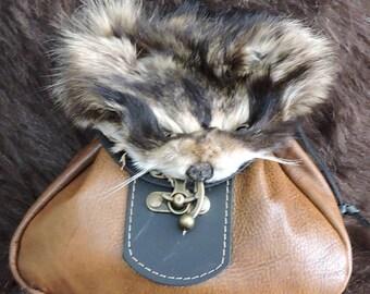 In Stock Large Sporran Design Leather Belt Bag / Pouch Medieval, Bushcraft, Costume, Ren Faire, Raccoon Face, Tan