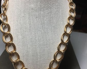 """Vintage 24"""" Double Link Oval Goldtone Chain Style Necklace - Edwin Pearl"""