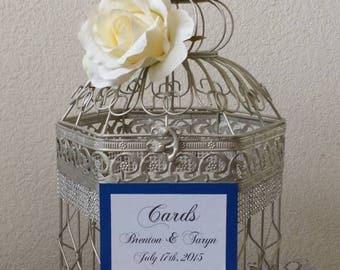 Large Hexagonal Birdcage W Bling-Wedding card holder