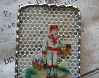 Fiona & The Fig - Victorian - Die Cut Scrap - Young Boy with Baskets - Soldered Charm - Necklace - Pendant-Jewelry