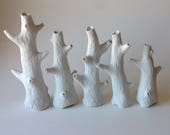 White porcelain carved mini tree vases, faux bois