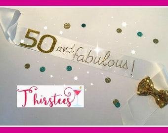 50 and fabulous sash or 30 40 50  Gold Rhinestone Birthday Sash Party Sash birthday blush and gold 40th pink and gold birthday