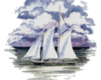 A Sail Boat Cross Stitch Pattern