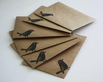 Set of 6 A6 Envelopes, Black Bird, Original Hand Printed Envelopes, Handcarved Stamp, Brown Kraft Card, Free Postage in UK,