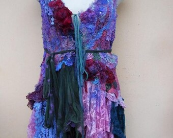 20%OFF gothic bohemian lagenlook gypsy vintage boho vest.smaller to 36""