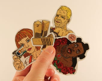 the fifth element stickers laptop labels tags - besson leeloo super green illustration