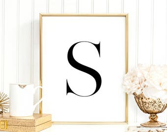 SALE -50% Letter S Monogram Alphabet Name Digital Print Instant Art INSTANT DOWNLOAD Printable Wall Decor