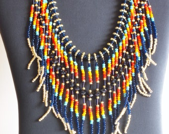 Native American necklace, Turquoise, Native American Jewelry, Beaded Necklace, Boho, Statement Necklace, Tribal Necklace