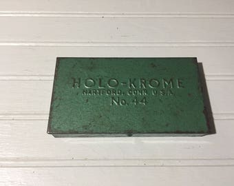Vintage Green metal container storage home Decor office repurpose money holder toolbox holo krome CT