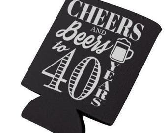 Cheers & Beers to 40 Years Digital Download, Cheers and Beers Can Cooler, 40th Birthday Decal, 40th Birthday, Big 40 Birthday