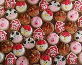 Barnyard animal cookies - MINI farm animal cookies - barn cookies - 2, 3, or 4 dozen decorated cookies - birthday cookie favors