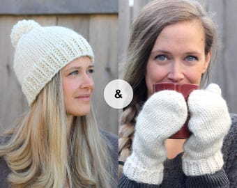 Knitted Hat and Mitten Set in Creamy Off White- Cozy Wool Off White Beanie and Mittens
