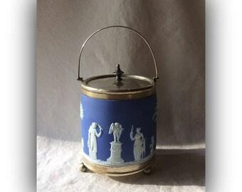 Antique Wedgewood IceBucket-Biscuit Jar -Blue Jasperware - GentlemanlyPursuits
