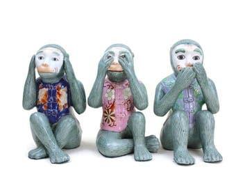 Three Wise Monkeys, See No Evil, Hear No Evil, Speak No Evil, Monkey Statues, Hand-Painted, Chinoiserie Decor, c1980s
