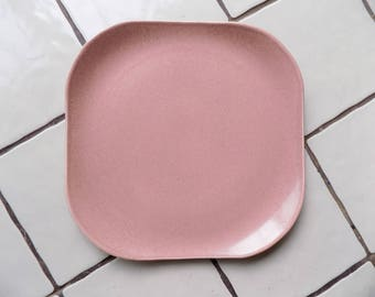 1950s Atomic Russel Wright American Modern square serving platter/ chop plate / coral/ pink-rose color / mint / Steubenville
