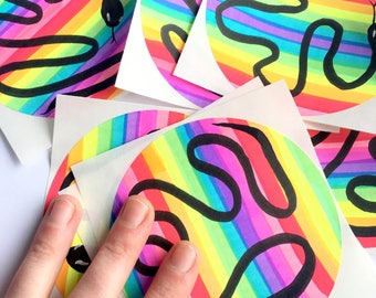 Rainbow Snake Stickers 〰 2 Pack of Hand Drawn Rainbow Stickers  〰 Handmade Sticker Pack 〰