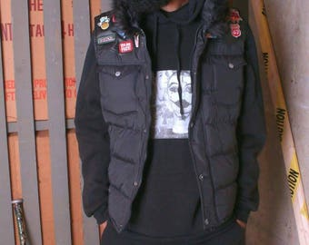 Rebel33 pop art embroidered down vest with fur  unisex