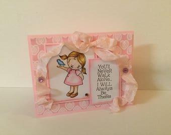 Handmade card,  greeting card, note card, watercolor card, mixed media card, handmade card, little girl card with bird, seam binding card