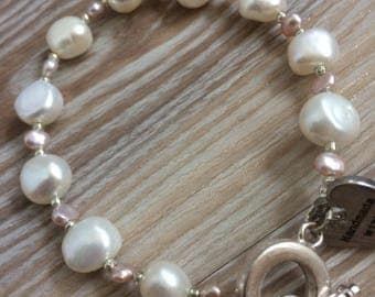 Fresh Water Pearl Bracelet Pink and Ivory UK made