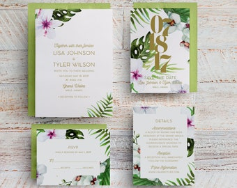 Tropical Wedding Invitations, Tropical Save the Dates, Hawaiian Wedding Invitations, Destination Wedding, Beach, Maui, Table Numbers, Menus