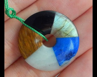 Labradorite,Lapis Lazuli,Amazonite,Obsidian,Tiger's Eye Intarsia Gemstone Round Pendant Bead,Small Pendant,22x3mm,2.7g(f0413)