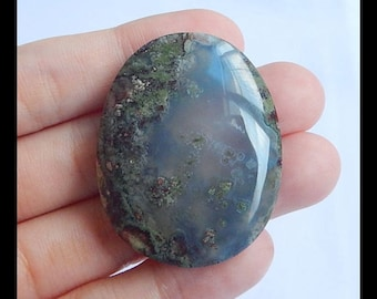 Natural Indonesian Agate Gemstone Cabochon,Oval Cabochon,39x31x9mm,17.2g(h0695)