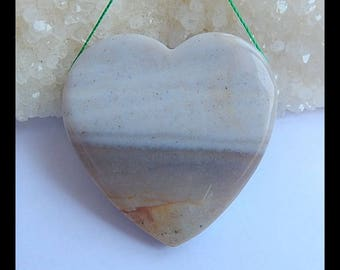 Natural Ocean Jasper Gemstone Heart Pendant Bead,45x45x9mm,31.3g(h0979)