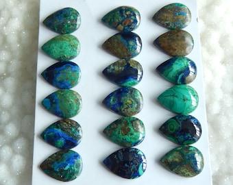 New,18pcs Teardrop Shape Blue Azurite Gemstone Cabochons,18x13x6mm,18x13x3mm,31.6g