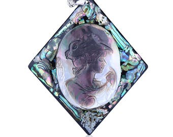 Carved Shell,Abalone Shell,Obsidian Intarsia Beauty Pendant Bead,43x6mm,11.98g,-CP617