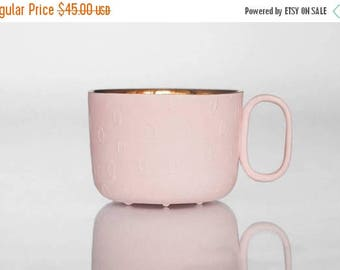 SALE Pink Porcelain cup gold inside - delicate ceramic mug for coffee or tea, luxurious handmade gift