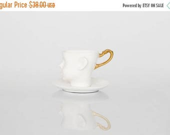 SALE Unique coffee cup with saucer-  doll head cup - porcelain cup, ceramic white and gold artisan cup by endesign