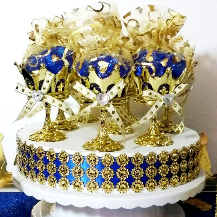 12 NEW Royal Prince Baby Shower Crown Favor Cups   Perfect For Boys Royal  Blue And