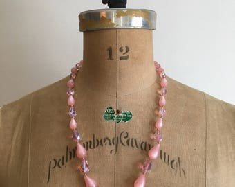 1950s 1960s Pink Moonglow Crystal Bead Necklace 50s 60s